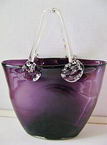 Hand Blown Glass Basket Ebay