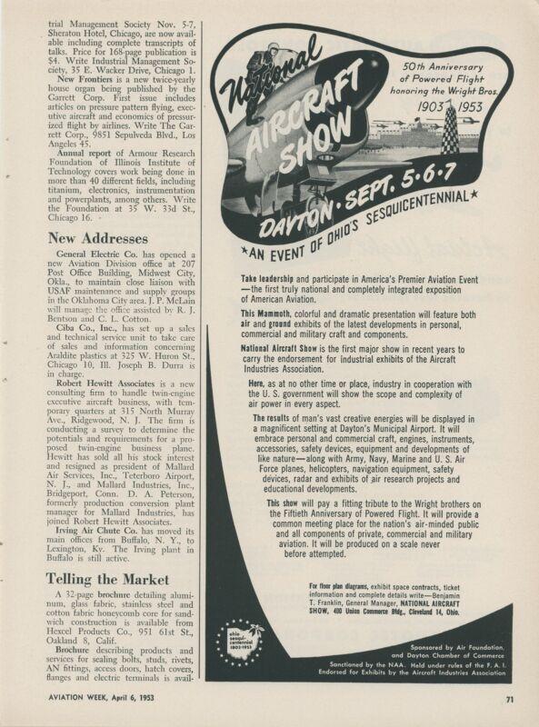 1953 National Aircraft Show Advertisement Dayton Ohio