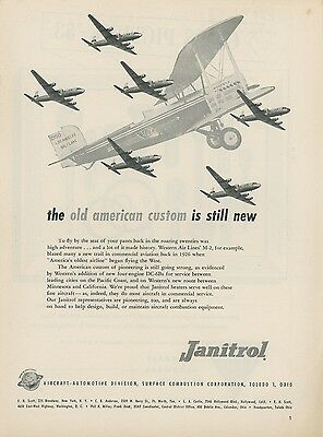 1953 Janitrol Aircraft Ad Western Air Lines DC-6B + 1926 M-2 Biplane Airlines