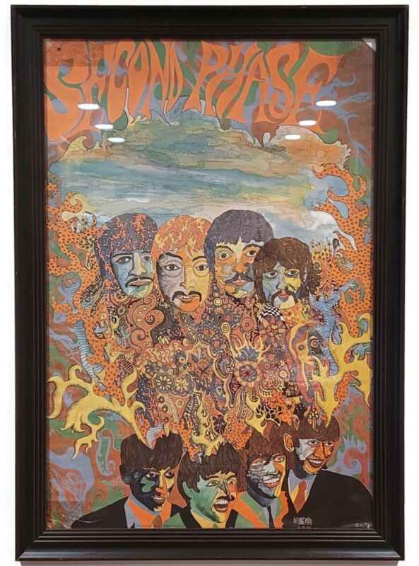 """Framed Original """"SECOND PHASE"""" Beatles Poster 1967 Ambrose"""