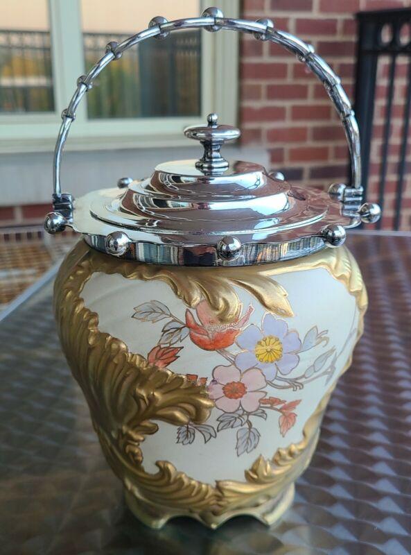 ANTIQUE MACINTYRE GILDED ARTS & CRAFTS BISCUIT BARREL JAR SILVER PLATED LID
