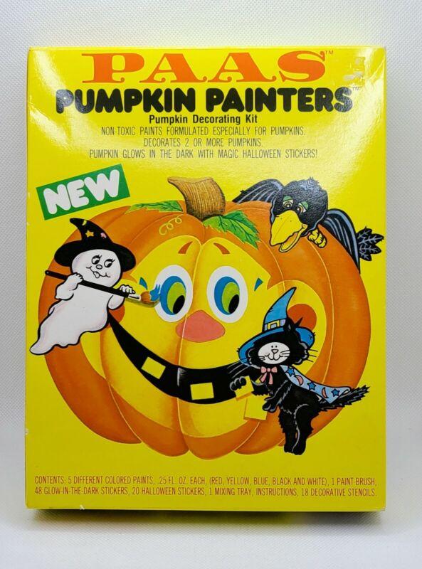 Vintage 1985 PAAS Halloween Pumpkin Decorating Kit Retro New Old Stock Art Decor