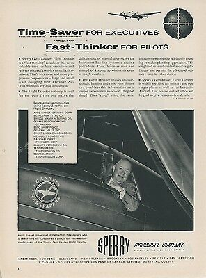 1953 Sperry Gyroscope Ad Gannett Newspapers Company Airplane Business Executive