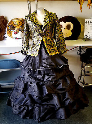 Black Gold French Venitian Masquerade Ball Gown Renaissance Hoop Dress 10 12 - French Masquerade Costume
