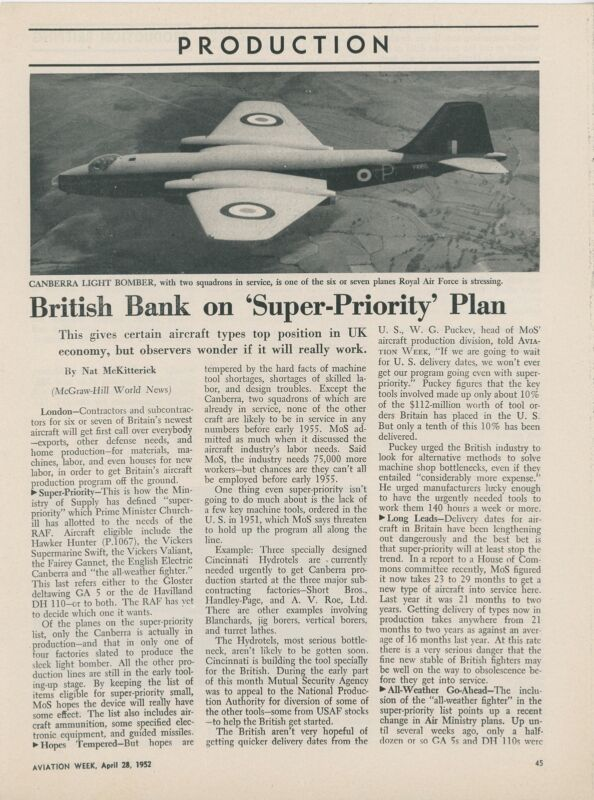 1952 Aviation Article British Aircraft Construction Plan England Canberra +