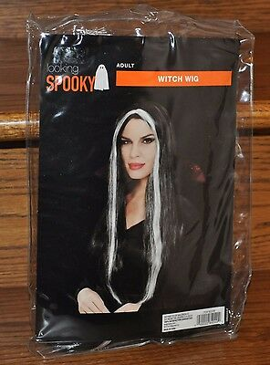 Adult Witch Wig Black with White Streaks Halloween Costume Party Long Hair NEW
