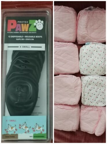 PawZ Protex 16 X-Small Black Dog Boots Plus 8 Simple Solution X-Small Diapers - $9.99