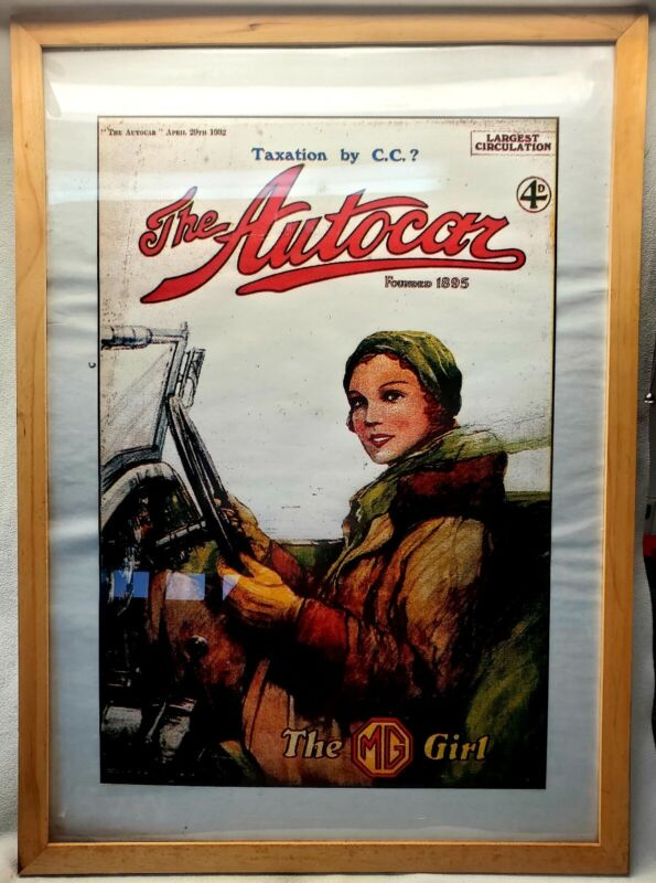 """Framed & Enlarged """"THE AUTOCAR"""" 1932 Magazine Cover~""""The MG Girl"""" For Your Cave"""