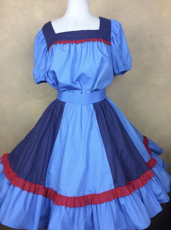 Square Dance Dress Outfit Skirt Blouse Blue w Navy Floral Red Lace Trim Vintage