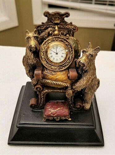SCHNAUZER DOGS Quartz FIGURAL CLOCK Ornate Chair Throne Footstool Decorative 5""