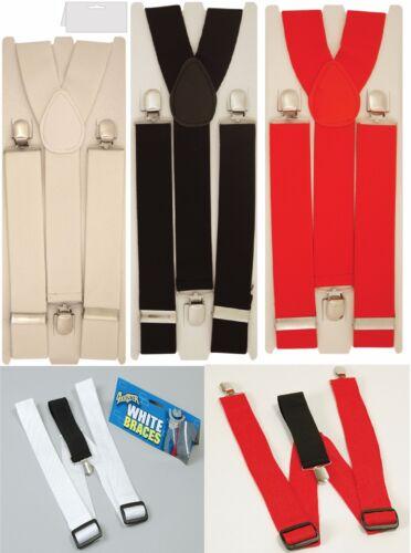 Wide Adjustable Braces Suspenders Elastic Plain Colours Classic Gents Mens