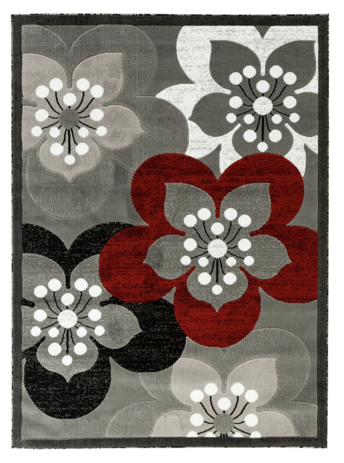 Area rug Nwprt #82 Floral design gray soft pile size 2x3 4x5