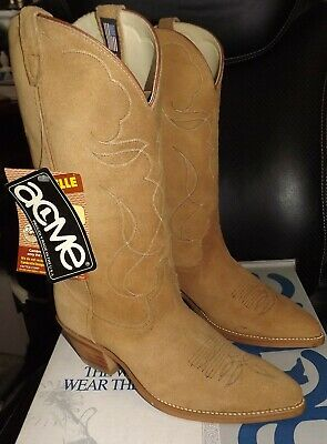New Acme Men's Western Boots 4661 Size 9 D Roughout Cowboy Camel Leather
