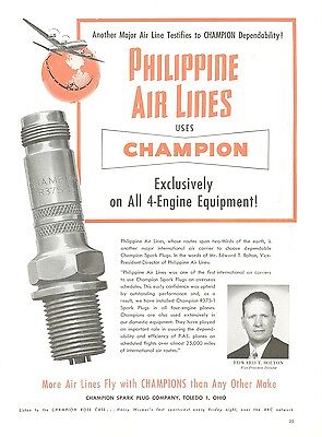 1950 Champion Sparkplugs Ad Philippine Air Lines Vice President Aviation Travel