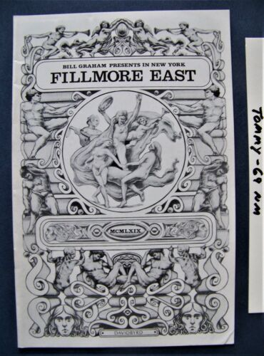"""Oct. 1969 ~ Fillmore East (NYC)  Concert Program ~ The Who - Performing """"TOMMY"""""""