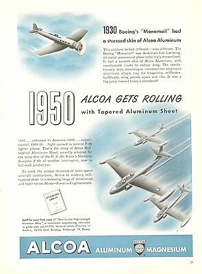 1950 Alcoa Aluminum Ad 1930 Boeing Monomail First Low Wing All Metal Plane