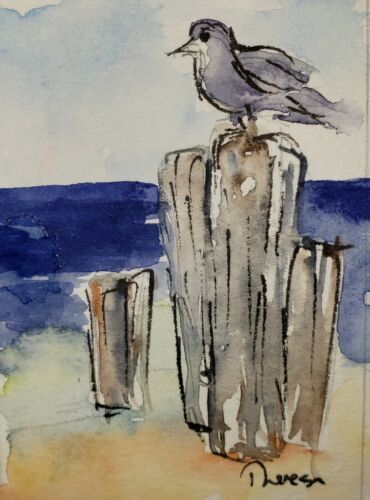 Original ACEO Or ATC Watercolor - Shorebird On Post - Unframed Miniature - $4.50