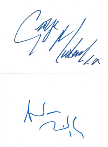 """Wham """"George Michael & Andrew Ridgeley"""" signed 4x6 inch white cards autographs"""