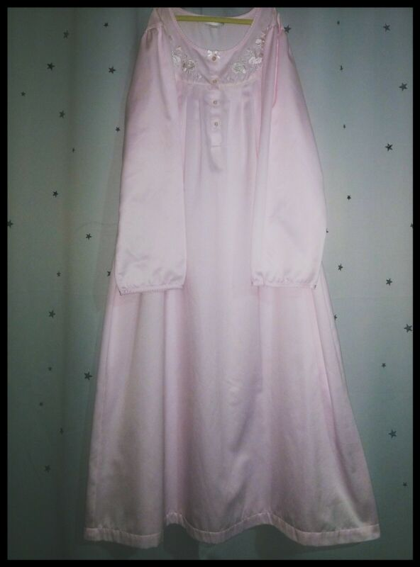 Vintage MISS ELAINE Silky Smooth SATIN Pink NIGHTGOWN Long GOWN Sleeves ~ xl