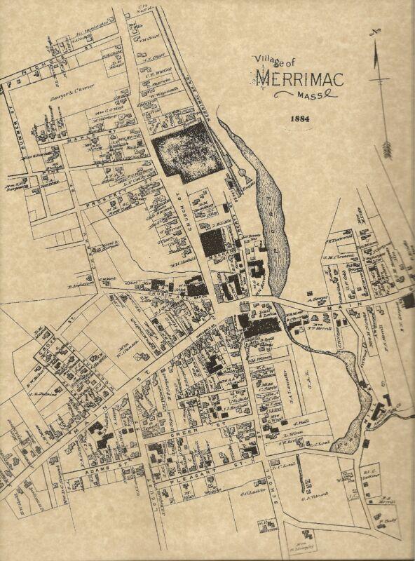 Merrimac West Newbury Merrimacport MA 1884 Maps with Homeowners Names Shown