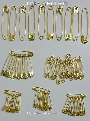 """70 Safety Pins Gold Tone Assorted Sizes 2"""", 1-1/2"""". 1-1/4"""", 1"""" NEW in Pack"""