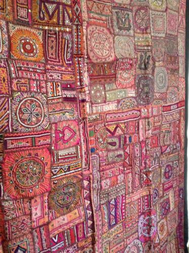 Antique Indian Patchwork Tapestry 6x7 Embroidered Wall