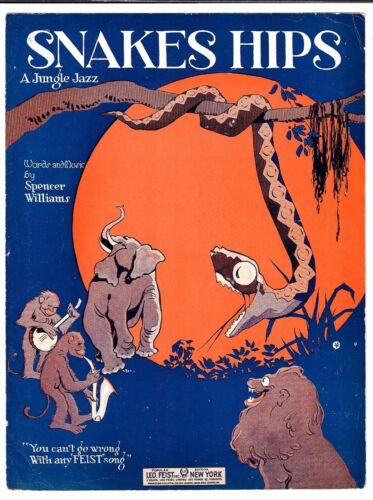 SPENCER WILLIAMS Sheet Music SNAKES HIPS - A JUNGLE JAZZ 1923 Black Composer