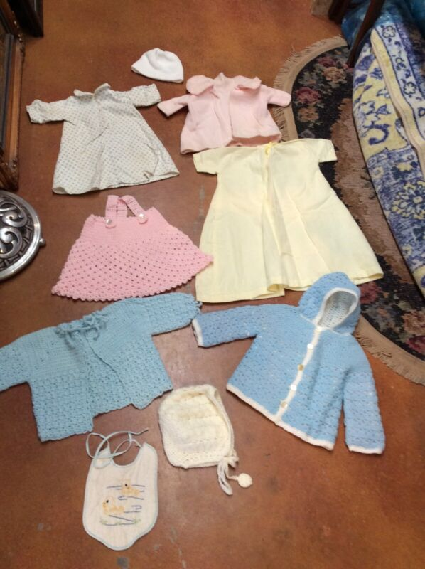 Vintage Child Baby Clothes lot Handmade Crochet Knit 1950