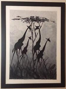 Framed Canvas Painted Giraffe Family - Price reduced Edgewater Joondalup Area Preview