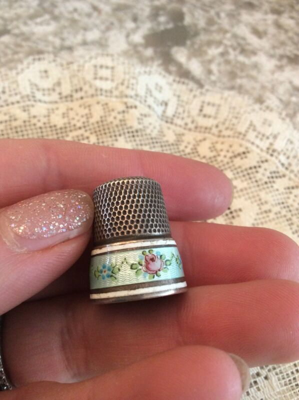 Antique Enamel Pink Roses Thimble Sterling Silver Simons #11