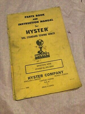 Hyster D8l Towing Winch Caterpillar D8 Crawler Dozer Part Operator Manual Book