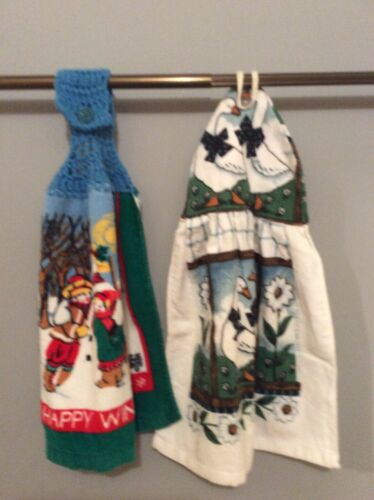 2 Hand Crafted  Cotton Cloth Hanging Kitchen Towels Ducks Ch