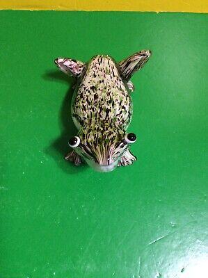 "GLASS Green Frog 6 1/2 "" FIGURINE COLLECTIBLE Garden Decoration"