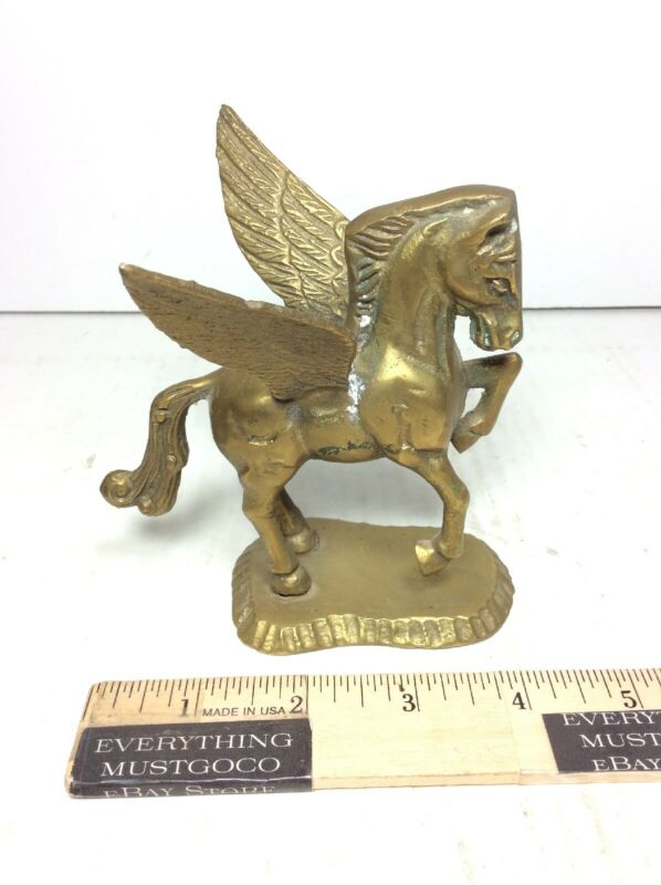 "NICE VTG Brass Pegasus Winged Equestrian Horse Sculpture Statue Figure 4.5"" Tall"