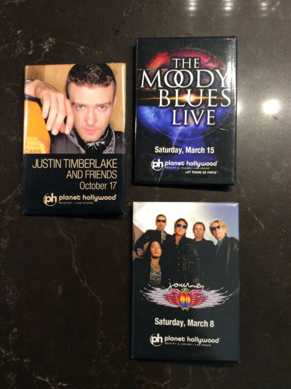 3 PLANET HOLLYWOOD collector pins Concert Justin Timberlake Journey Moody Blues