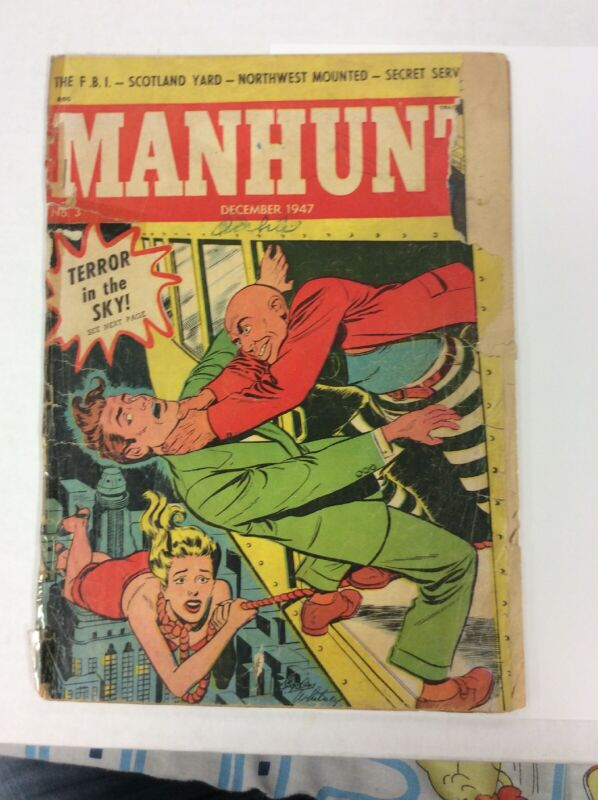 MANHUNT COMIC #3 PRE CODE CRIME AWESOME STRANGULATION / BLONDE HANGING COVER