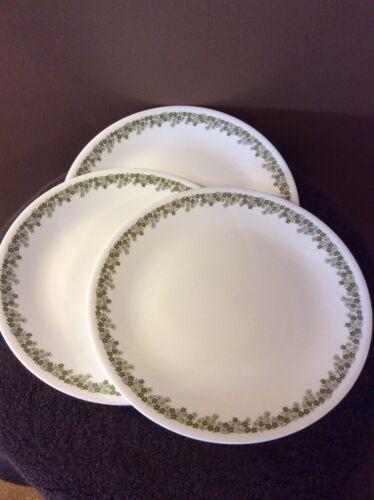 "Corelle 3 SPRING BLOSSOM GREEN (Crazy Daisy) Dinner Plates 10.25"" Corning"