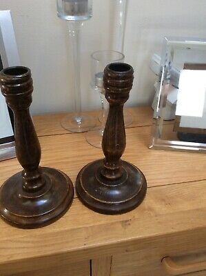 "2 X Vintage Wooden Turned Candlesticks 8"" High"