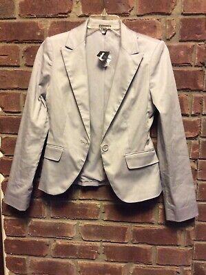 Nwt Express Gray Cotton One Button Blazer $88 Sz 0