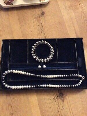 Honora Silver Pearl Necklace Bracelet And Earrings Set