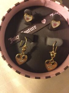 JUICY COUTURE JEWELRY SET BOX 2 SETS OF PIERCED EARRINGS NWT, FREE SHIPPING