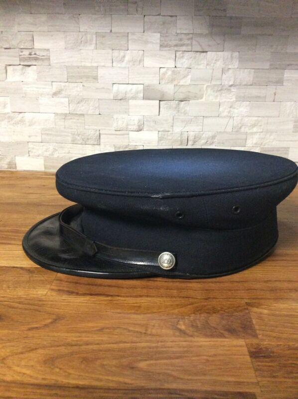 Vintage NYC Fireman Hat. Navy Blue The M.Herman Co.1185-3rd Ave NYC