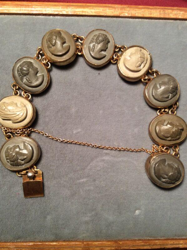 Antique Vintage Art Nouveau Carved Lava Cameo Bracelet