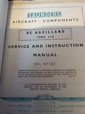 SAUNDERS VALVE Co Manual for Valves Fitted To DH.114 Heron