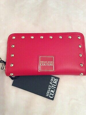 versace jeans couture Zip Round Matinee Purse In Red Leather New & Genuine