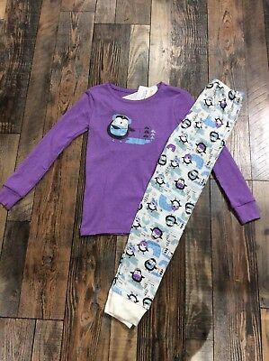 Girls Pajamas Size 7 (NWT Gymboree PENGUIN Purple Ice Skating Holiday Girls Pjs Size)