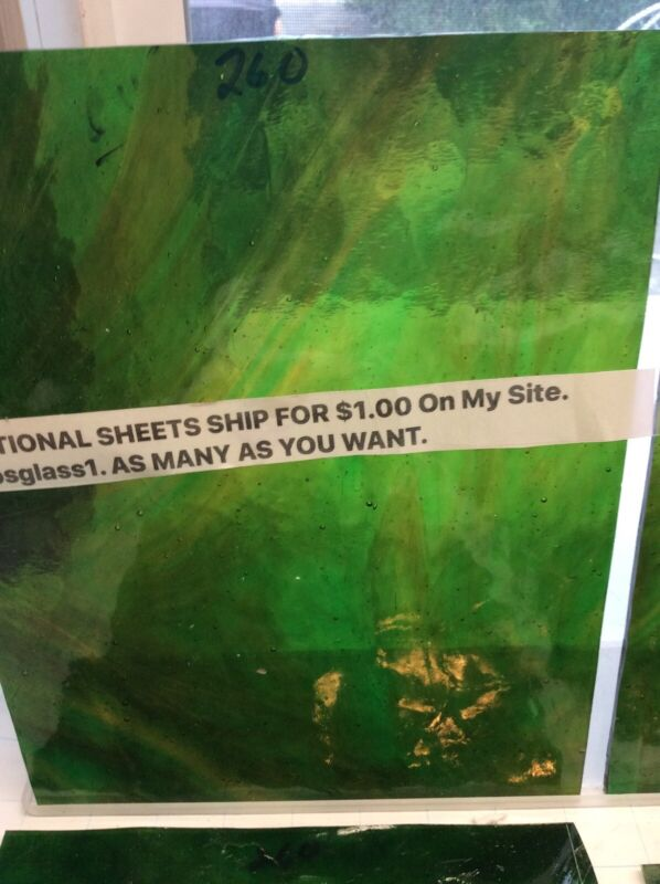 "#260 GREEN YELLOW  8 x 10""  Y STAINED GLASS SHEET ADD SHEET SHIP $1"