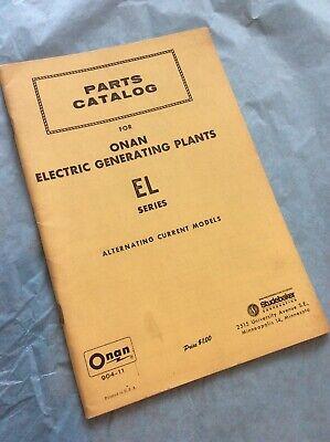 Onan El Diesel Electric Generating Plants Parts Catalog Manual List Book Guide