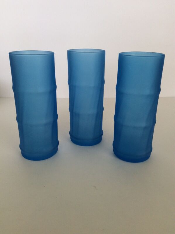 Bamboo Shaped 16oz Tumblers ~ Frosted Blue ~ Set of 3