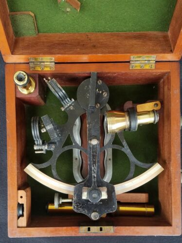 Antique Husun Sextant Made By H. Hughes & Sons LTD. London in Wood Case